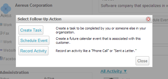 Follow-up activity dialog